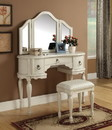 Benzara BM163522 Wooden Vanity Set with 3 Drawer Table and Fabric Upholstered Stool, Cream