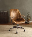 Benzara BM163558 Metal & Leather Executive Office Chair, Coffee Brown