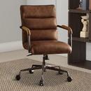 Benzara BM163560 Metal & Top Grain Leather Executive Office Chair, Retro Brown
