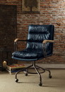 Benzara BM163562 Metal & Leather Executive Office Chair, Vintage Blue
