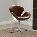 Benzara BM163615 Top Grain Leather Accent Chair with Swivel, Brown & Silver