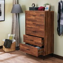 Benzara BM163643 Enchanting Wooden Chest With 5 Drawers, Walnut Brown