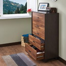 Benzara BM163644 Wooden Chest with 5 Drawers, Walnut & Espresso Brown
