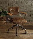 Benzara BM163666 Leatherette Button Tufted Office Chair with 5 Star Caster Base, Brown