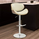 Benzara BM163783 Adjustable Bar Height Stool, Cream & Walnut