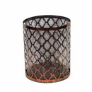 Benzara BM164598 Distressed Metal/Glass Candle Holder, Copper