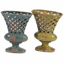 Benzara BM164678 Ceramic Vase With Handle, Blue And Green, Assortment Of 2