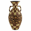 Benzara BM164688 Ceramic/Wood Encrusted Vase, Multicolor