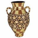 Benzara BM164689 Ceramic/Wood Encrusted Vase, Multicolor
