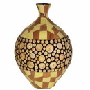 Benzara BM164690 Ceramic/Wood Encrusted Vase, Multicolor