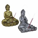 Benzara BM164849 Assortment Of 2 Buddha Statues, Gold And Silver