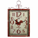 Benzara BM165132 Red Rooster Metal Wall Clock, Red