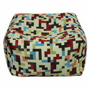 Benzara BM165161 Fabric Pouf Ottoman, Multicolored