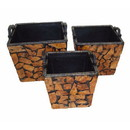Benzara BM165230 Set Of Three Wooden Planter, Brown And Black