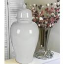 Benzara BM165658 Ceramic Ginger Jar With Lid, White