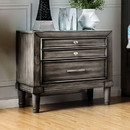 Benzara BM166146 Wooden Night stand with drawers, gray