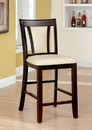 Benzara BM166180 Wooden Side Chair With Padded Ivory Seat & Back, Pack Of 2, Cherry Brown