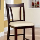 Benzara BM166218 Wooden Counter Height Chair With Padded Seat and Back, Pack of 2, Brown & Ivory