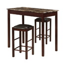 Benjara BM16644 3 Piece Marbleized Wooden Counter Set with Stools, Brown and Black