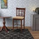 Benzara BM166589 Wooden Counter Height Chair, Dark Brown & Cream, Set of 2