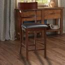 Benzara BM166590 Wooden Counter Height Chair, Dark Brown, Set of 2