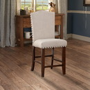 Benzara BM166612 Rubber Wood High chair With Studded Trim, Cream & Cherry Brown, Set of 2