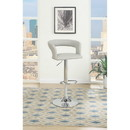 Benzara BM166616 Metal Base Bar Stool With Faux Leather Seat And Gas Lift, Gray & Silver Set of 2