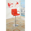 Benzara BM166618 Chair Style Barstool With Faux Leather Seat And Gas Lift Red And Silver Set of 2