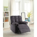 Benzara BM166719 Recliner With Tufted Back And Roll Arms In Gray