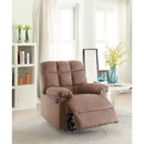 Benzara BM166720 Recliner With Tufted Back And Roll Arms In Saddle Brown