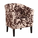 Benjara BM16698 Wooden Club Chair with Faux Leather Upholstery, White and Brown