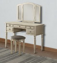 Benzara BM167180 Commodious Vanity Set Featuring Stool And Mirror Silver