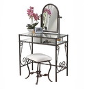 Benjara BM16781 Classic Metal Vanity Set with Cheval Mirror and Stool, Black