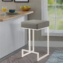 Benzara BM168067 Bar Stool with Upholstered Gray Seat with Chrome Base