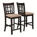 Benzara BM168069 Armless Counter Height Chair, Espresso Brown & beige , Set of 2