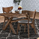 Benzara BM168072 Dining Side Chair with curved Back, Brown & Black, Set of 2