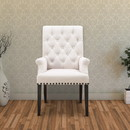 Benzara BM168101 Side Dining Chair, Beige & Smokey Black