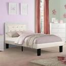 Benzara BM168651 Wooden Full Bed With Light Bone PU Tufted Head Board, White Finish