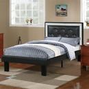 Benzara BM168653 Wooden Full Bed With Ash-Black PU Tufted Head Board, Black Finish