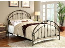 Benzara BM168983 Metal Full Bed With Round Headboard And Footboard, Brushed Bronze Gray