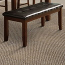 Benzara BM170327 Wood based Leather Tufted Bench In Dark Brown