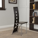 Benzara BM171205 Contemporary Metal DINING CHAIR with cutout Back Set of 4 BLACK and CHROME