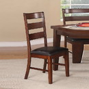 Benzara BM171206 Solid Wood Side Chairs With Ladder Back Set Of 2 Brown