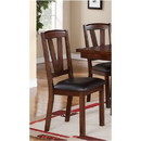 Benzara BM171214 Solid Wood Leather Seat Side Chair Brown Set of 2