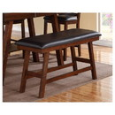 Benzara BM171216 Rubber Wood Bench With Faux Leather Upholstery Small Brown