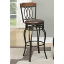 Benzara BM171241 Swivel bar stools with Padded Seat and Wooden Top Black Set Of 2