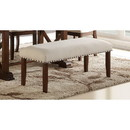 Benzara BM171246 Rubber Wood Bench With Nail trim head design Brown and Cream