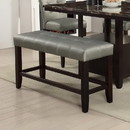 Benzara BM171258 Tufted High Bench With Tapered Legs Silver and Brown