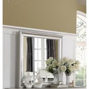 Benzara BM171370 Square Shaped Mirror With Striking Wooden Frame Silver