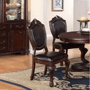 Benzara BM171518 Rubber Wood Dining Chair With Faux Leather Upholstery , Set Of 2, Brown